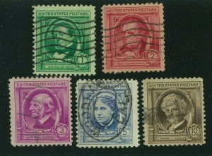 US 1940 Famous Americans:  Authors, Scott 859-863 used, Value = $2.20
