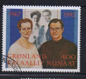 Greenland Sc 253 1992 Silver Wedding Queen stamp used