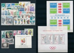 Monaco 1984 Complete Year Set incl. airmail and souvenir sheets  MNH