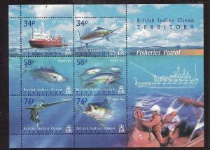 BIOT-Sc#273-unused NH sheet-Marine Life-Ships-Fishery Patrol-2004-