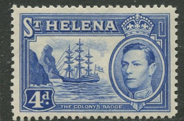 St.Helena - Scott 122B - KGVI Definitive -1938 - MVLH - Single 4p Stamp