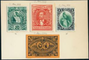 GUATEMALA #16P3,35P3,62P3 ABNCo PLATE PROOFS ON INDIA XF-SUPERB EX-GREEN HV5281