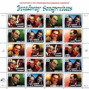 PCBstamps      US #3345/3350 Sheet $6.60(20x33c)Broadway Songwriters, (13)