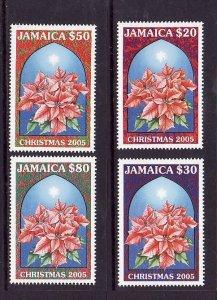 Jamaica-Sc#1033-6-Unused NH set-Christmas-Flowers-Poinsettia-2005-