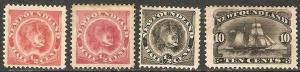 Newfoundland 1887-96 Scott 56-9 Dog & Schooner MH