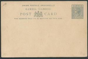 GAMBIA QV 1½d postcard unused............................................46942