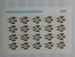 Liechtenstein 1967 European Free Trade Association in complete sheet of 20 MNH