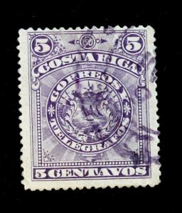 Costa Rica Telegraph Stamp Barefoot #1 used 5c 1892 POST OFFICE FRESH