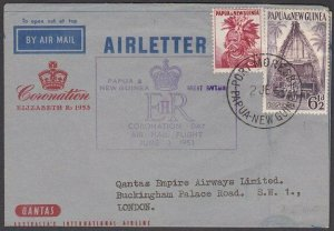 PAPUA NEW GUINEA 1953 Qantas coronation flight - commem aerogramme to UK....M683