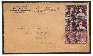 Y178a 1937 GB MIXED REIGNS COVER Manchester Australia Airmail KGVI Coronation