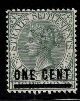 Straits Settlements Scott 83 MH* surcharged stamp