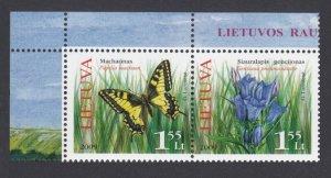 2009 Lithuania 1021-1022Paar Butterflies