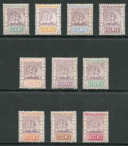 British Guiana SG193/205 1889 Ship set wmk Crown CA M/Mint