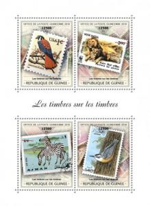 GUINEA - 2018 - Stamps on Stamps - Perf 4v Sheet - MNH