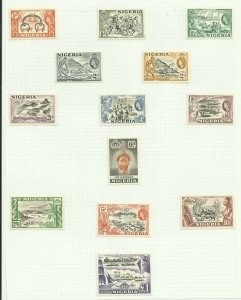 Nigeria 1953 Set of 13 Hinged to page, Sg 69-80, Mounted Mint {C/P-10}