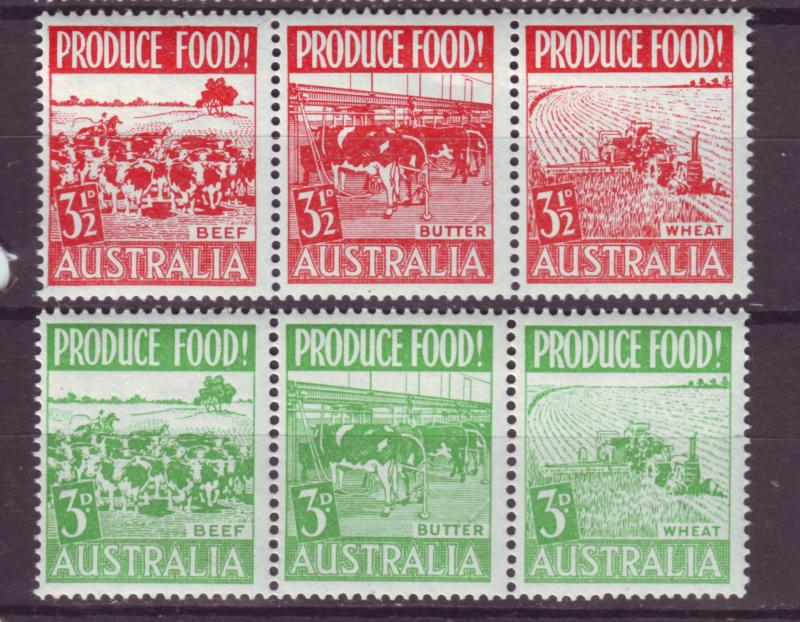 J16487 JLstamps 1953 australia strips of 3 set mnh #252a-5a farming