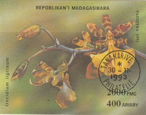 Malagasy Republic 1993 Orchids Sheet Used 11888