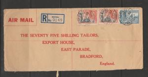 Gold Coast 1953 registered cover, BEKWAI label & cancel, to the 75 shilling Tail