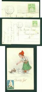 Denmark. Christmas Card 1926  Seal + 7 Ore . Girl Feeding Birds. Cancel: Copenha