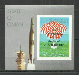 L1075 IMPERFORATE OMAN PROGRESS IN SPACE !!! OVERPRINT KENNEDY 1969 1BL FIX