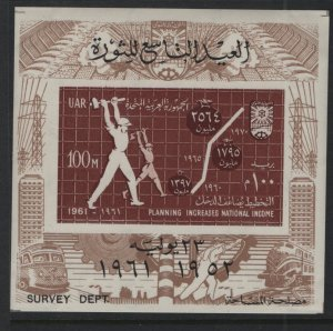 EGYPT, 528, SOUVINER SHEET, MNH, 1961, Chart workers