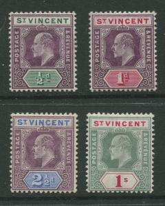 STAMP STATION PERTH St Vincent #82-84,86 KEVII 1904-11 MLH CV$65.00.