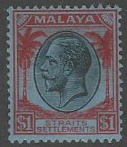 Straits Settlements #199 Mint Hinged $1 KGV