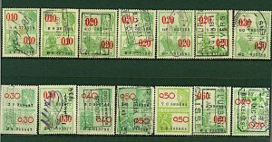 Belgium 1930/ 42 range of 14 revenue issues as illustrated diff rates FU Stamps