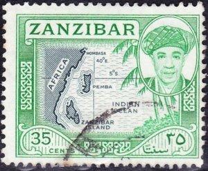 ZANZIBAR 1961 35 Cents Slate & Emerald SG379 Fine Used