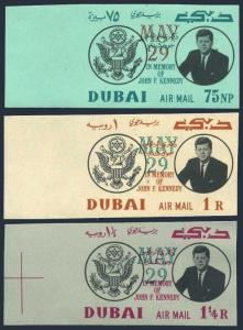 Dubai C52-C54 imperf,MNH.Michel 113B-115B. John F.Kennedy,MAY 29 1964.