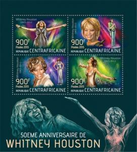 Central Africa - 2013 Whitney Houston 50th - 4 Stamp Sheet - 3H-555