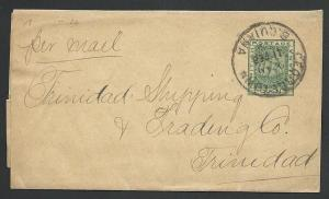 BR GUIANA 1904 1c newspaper wrapper used Georgetown to TRINIDAD............49667