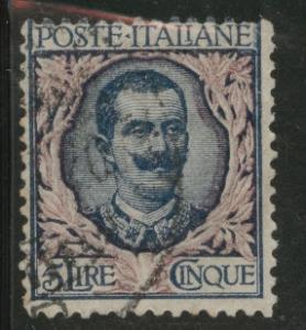 Italy Scott 91 violet 5 Lire stamp 1901 CV$ 5.75