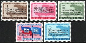 Haiti 442-443,C136-C138, MNH. Declaration of Human Rights.Ovptd. in Spanish,1959