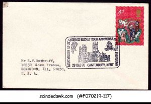 GREAT BRITAIN - 1970 COVER WITH MARTYRDOM F ST. THOMAS BECKET CANCL.