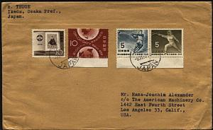JAPAN 1959 30y rate cover Osaka to USA - nice franking sport stamps etc