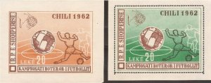 Albania - 1962 World Cup Soccer - Set of 2 Imperf S/S #628a See Scott note