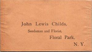 John Lewis Childs Seeds Florist Floral Park NY vintage preprinted envelope