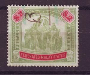 J16760 JLstamps 1901 malaya used #35 elephants wmk 3