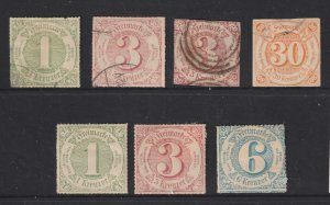 Thurn & Taxis x 7 (4U 3 M) mainly rouletted