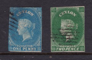 Ceylon x 2 old imperf QV
