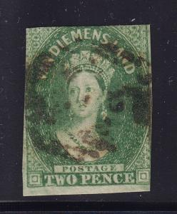 Tasmania SG # 32 F-VF yellow green used neat cancel with nice color ! see pic !