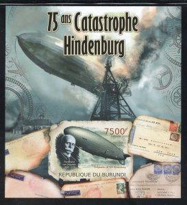 Burundi 1093 MNH 75th. Anniv of the Hindenburg Souvenir Sheet from 2012