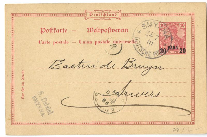 Turkey 1901 SMYRNA Deutsche Post on Postal Stationery Mi. P 7 to Belgium
