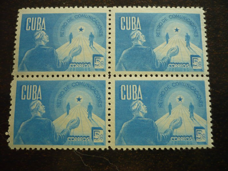Stamps - Cuba - Scott#384-386 - Mint Hinged Set in Blocks of 4 Stamps