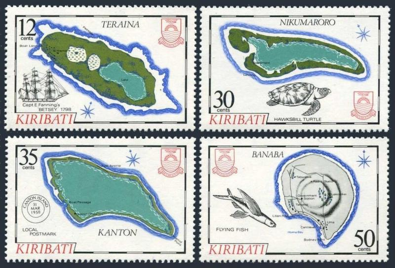 Kiribati 436-439,MNH.Michel 435-438. Islands 1984.Maps,Fish,Turtle.