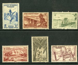 FRENCH WEST AFRICA 36-41 MNH PARTIAL SET SCV $3.20 BIN $1.50 CULTURE