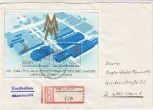 German DDR 1989 Regd Stassfurt Cancel NewBuilds Leipziger Stamps Cover Ref 30158