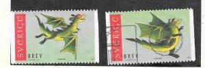 Sweden #2367-2368 Dragons  (U) CV $2.20