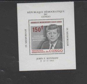 CONGO, DEMOCRATIC REP. #520  1964  JFK     MINT VF NH  O.G  S/S